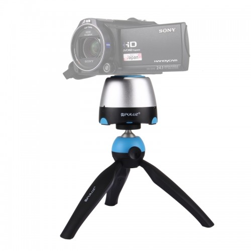 PULUZ Electronic 360 Degree Rotation Panoramic Tripod Head + Tripod Mount + GoPro Clamp + Phone Clamp with Remote Controller for Smartphones, GoPro, DSLR Cameras (Blue)
