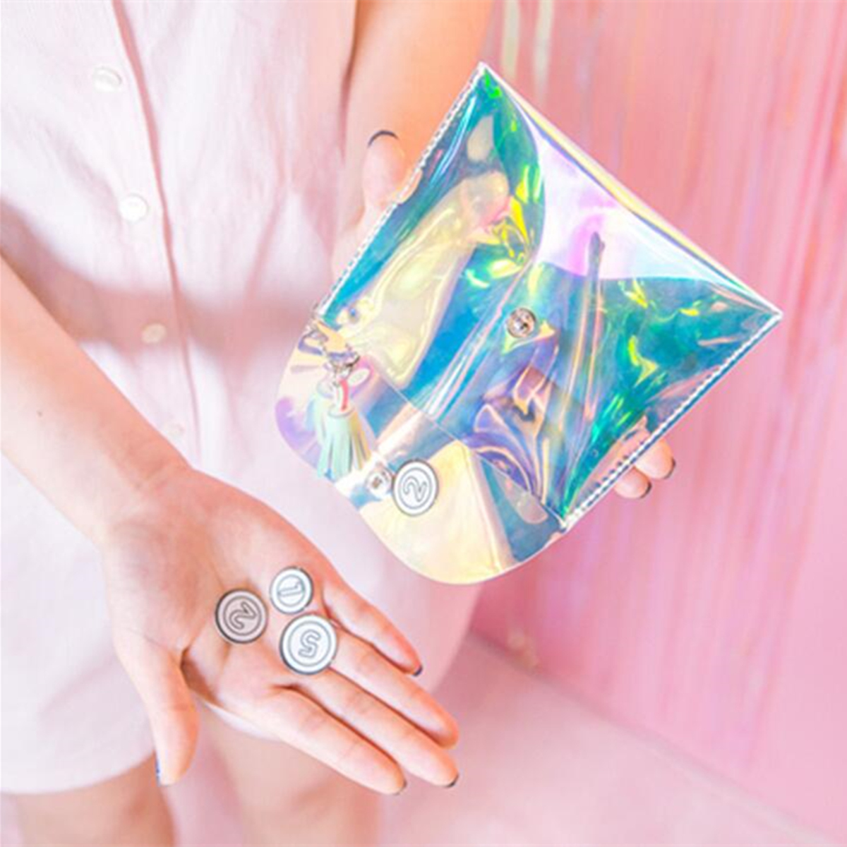 Women Clutch Makeup Laser Phone Bag Colorful Transparent Wallet Purse Earphone Cable Storage Bag