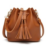 Women PU Leather Drawstring Bucket Bags Retro Tassel Shoulder Bags Crossbody Bags