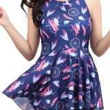 Plus Size Off Shoulder Hollow Out Back Wind Chime Printing One Piece Swimwear Dress