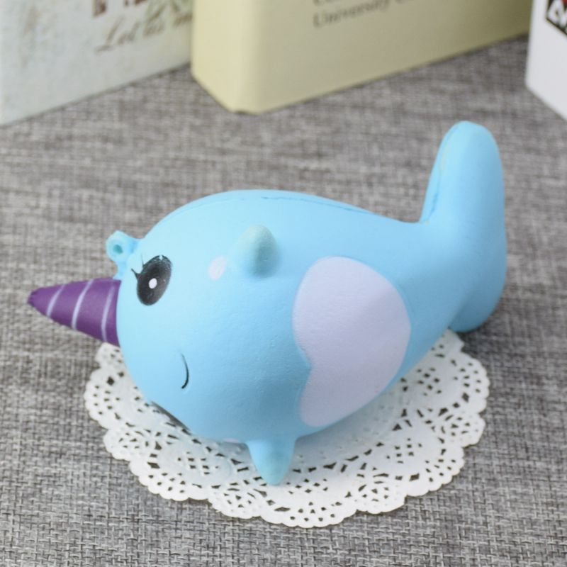 Squishy Narwhal Uni Whale Blue 11cm Slow Rising Cute Soft Collection Gift Decor Toy Alex NLD
