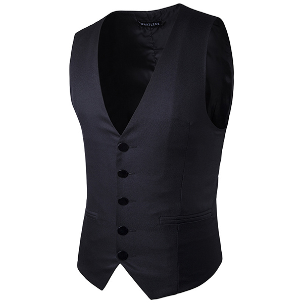 Formal Business Gentleman Slim Fit Single-breasted Pure Color Fashion Waistcoat Men Suit Vest