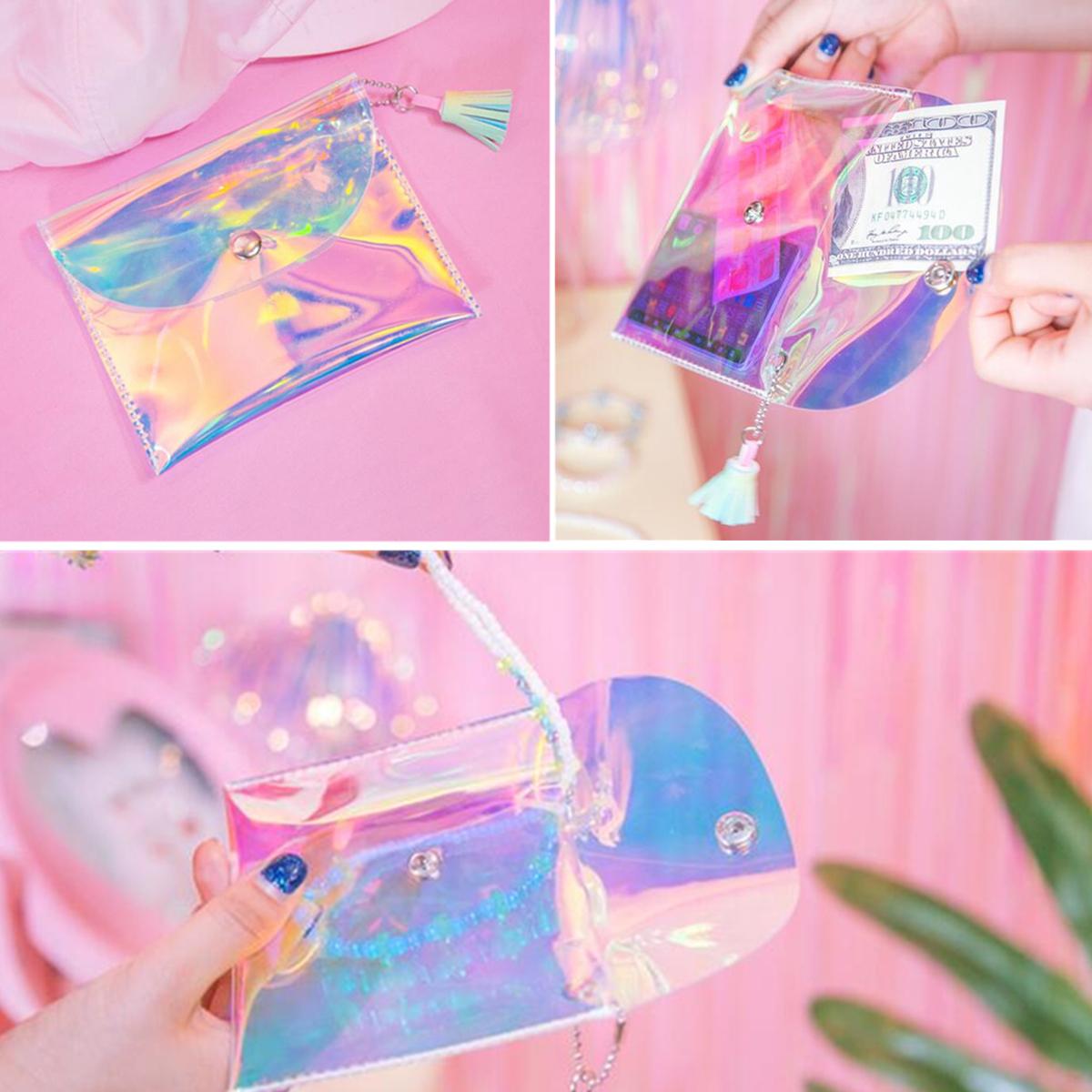 Women Clutch Makeup Laser Phone Bag Colorful Transparent Wallet Purse Earphone Cable Storage Bag