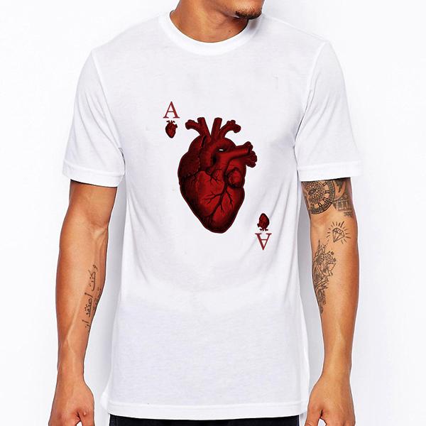 Summer Men's Poker Print T-shirt V-neck Cotton Tees Casual Short Sleeve T-Shirt