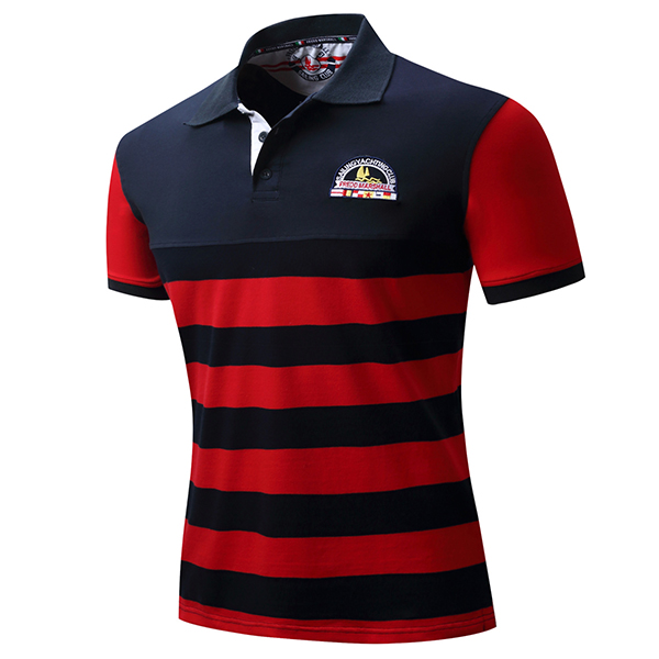 Spring Summer Casual Business POLO Shirt Men's Fashion Embroidery Stripes Short Sleeve T-shirts