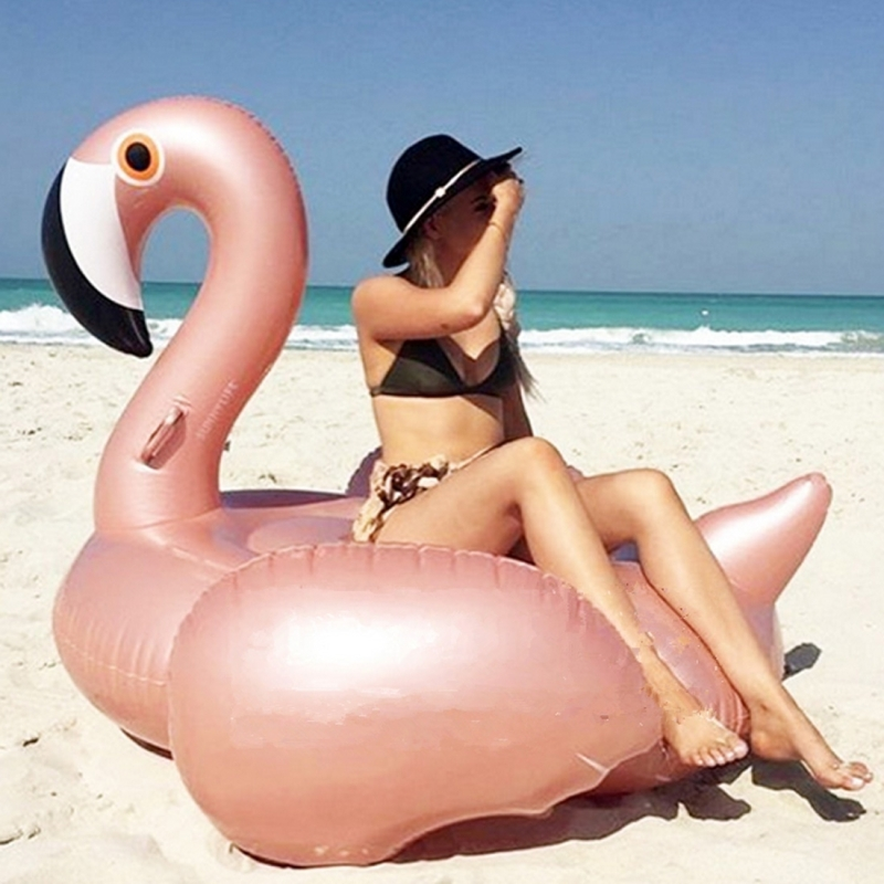 Inflatable Flamingo Shaped Floating Mat Swimming Ring, Inflated 190 x 200 x 130cm (Rose Gold)