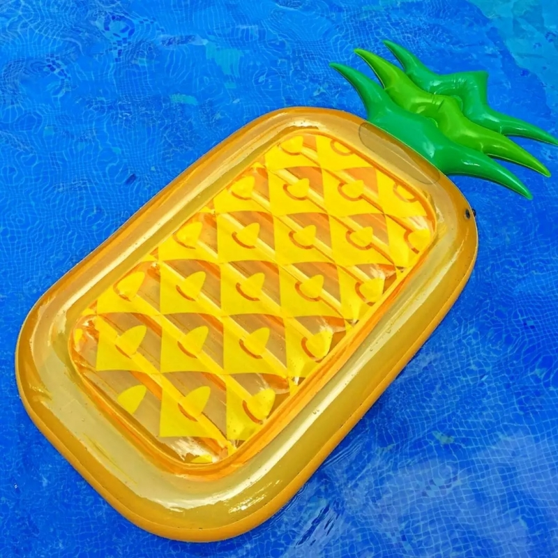 Inflatable Pineapple Shaped Floating Mat Swimming Ring, Inflated 185 x 80cm