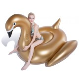 Inflatable Golden Swan Shaped Floating Mat Swimming Ring, Inflated 190 x 190 x 130cm