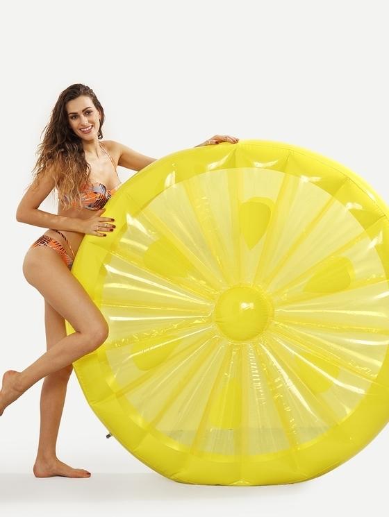 Inflatable Lemon Slice Shaped Floating Mat Swimming Ring