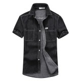 Mens Fashion Summer Denim Solid Color Double Pockets Thin Loose Short Sleeve Casual Shirts