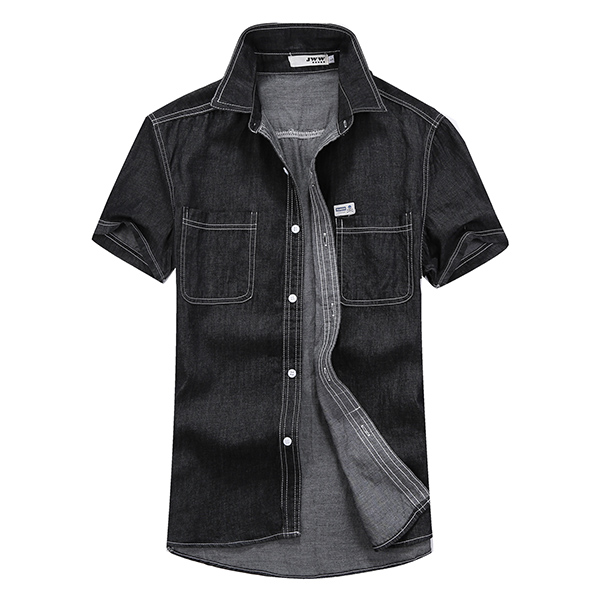 Mens fashion summer denim solid color double pockets thin for Mens double pocket short sleeve shirts