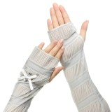 Summer Lady Lace Silk Gloves Printed Long Sleeves Anti-UV Sun Fingerless Arm Multi Color