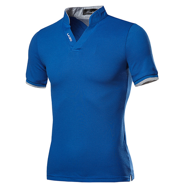 Fashion Leisure V-neck Solid Color T-shirts Men's Outdoor Casual Short Sleeve Tops Tees