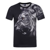 3D Lion Animal Digital Printed T-shirt Men's Elastic Casual  Short Sleeve Round Neck T-Shirt