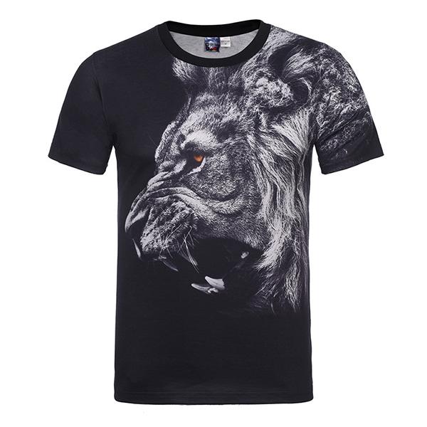 3d lion animal digital printed t shirt men s elastic for Digital printed t shirts