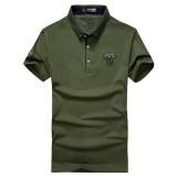 NIANJEEP Summer Men's Fashion T-Shirt Cotton Lapel T-Shirt Short Sleeve Polo Shirt