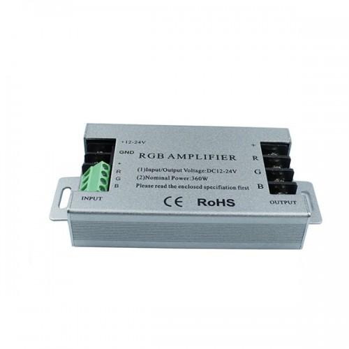 360W Aluminum RGB LED Amplifier Controller For RGB 5050 3528 Strip Light DC12-24V