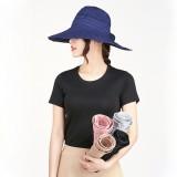 Women Foldable Sun Protective Beach Hat Summer Outdoor Gardening Anti-UV Wide Brim Visor Cap