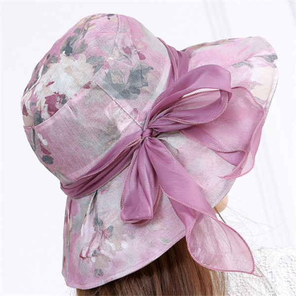 b59a367a194 Women Summer Sun Hat Flowers Inkjet Wide Brim Floppy Bucket Hat Beach  Travel Visor Hat