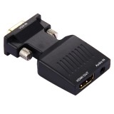 HD 1080P VGA to HDMI + Audio Video Output Converter Adapter for HDTV Monitor Projector (Black)