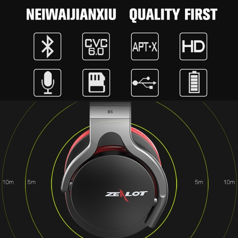 Zealot B5 Headband Bluetooth Stereo Music Headset with Handsfree Call Function for iPhone / Samsung / LG / HTC / Nokia / Blackberry Mobile Phone (Black)