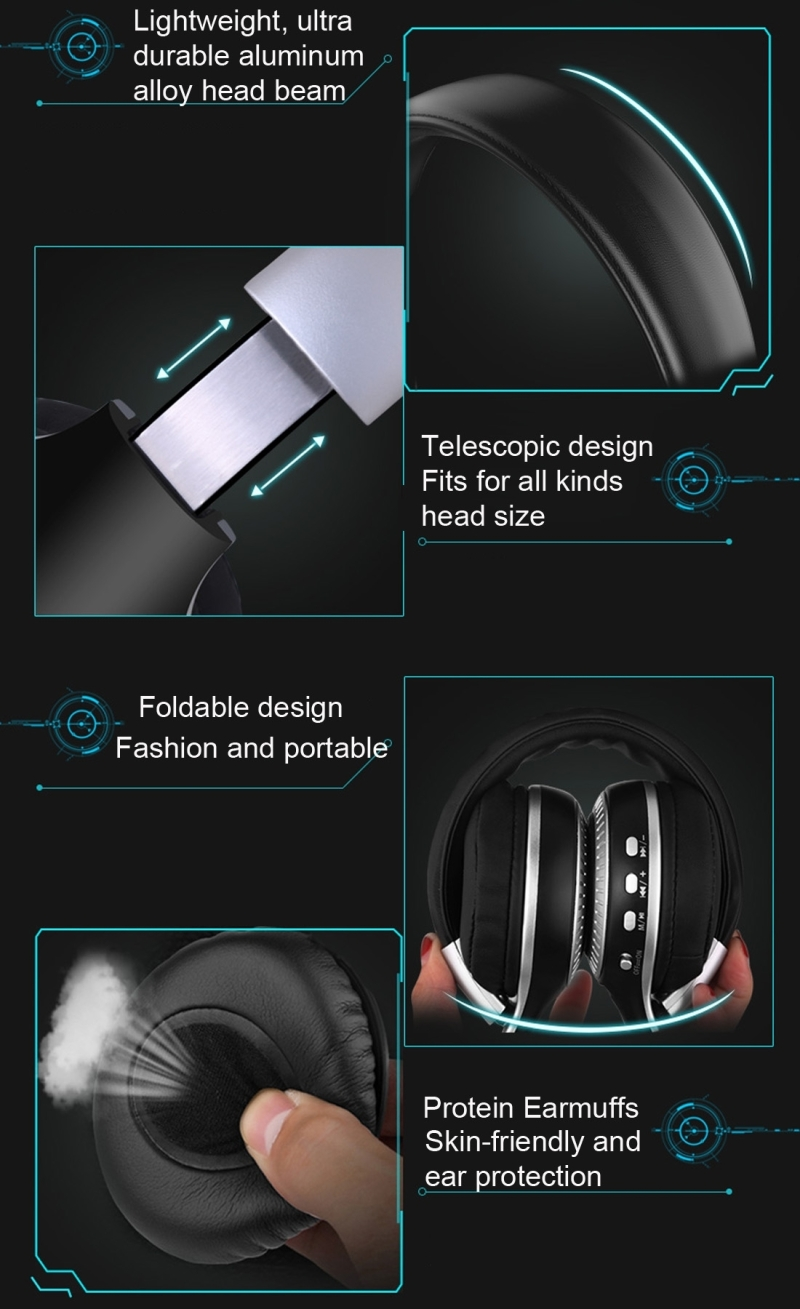 Zealot B19 Folding Headband Bluetooth Stereo Music Headset with Display & Handsfree Call Function for iPhone / Samsung / LG / HTC / Nokia / Blackberry Mobile Phone (Grey)