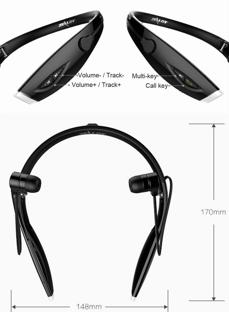 Zealot H1 Bluetooth 4.0 Headphones Noise Reduction Stereo Neckband Headset with Handsfree Function (Black)