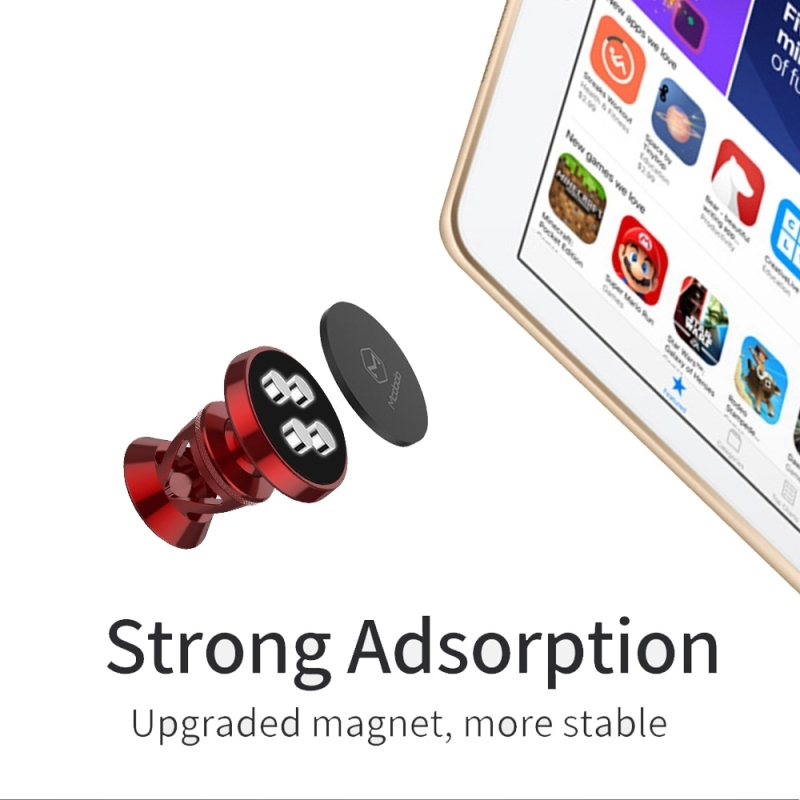 Mcdodo CM-2573 Yao Series Aluminum Alloy Hanging cable Car Vent Mount Holder Suction Bracket 360 Degrees Rotation Car Air Outlet Vent Mount Phone Holder Stand for iPhone, Samsung, Huawei, Lenovo, Xiaomi, Sony, HTC (Red)