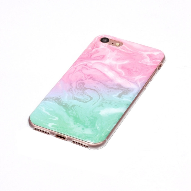 For Iphone7 Pink Green Marble Pattern Soft Tpu Protective