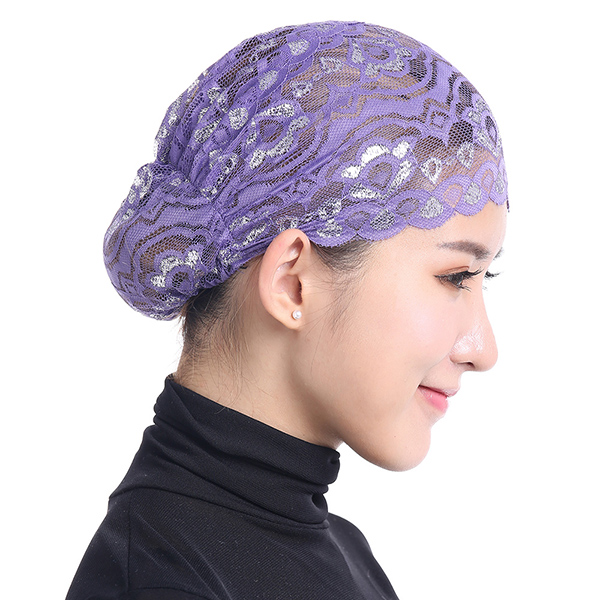 Women Muslim Shiny Lace Head Coverings Headscarf Hat Islamic ... fcbbd770132