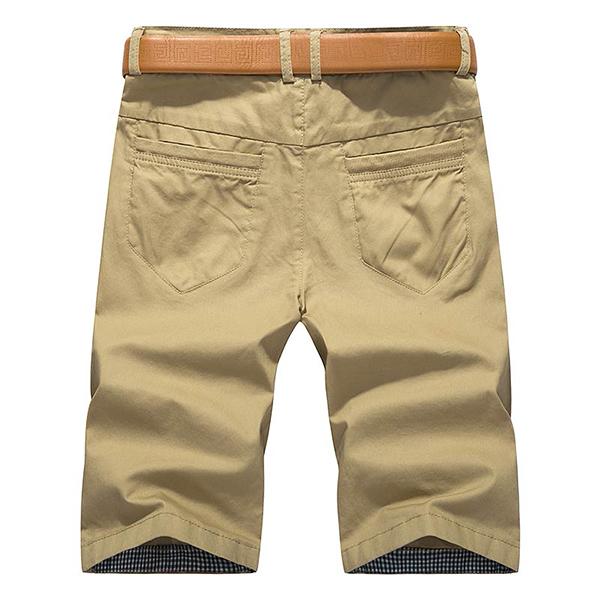 Summer Men's Casual Shorts Pants Solid Color Muilt Pockets Leisure Cotton Cargo Shorts