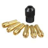 6Pcs 1mm-3mm Brass Drill Chucks with 8×0.75mm Black Nut for Dremel Rotary Tool