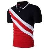 Fashion Oblique Stripes Stitching Lapel T-shirts Men's Casual Short Sleeved Tops Tees