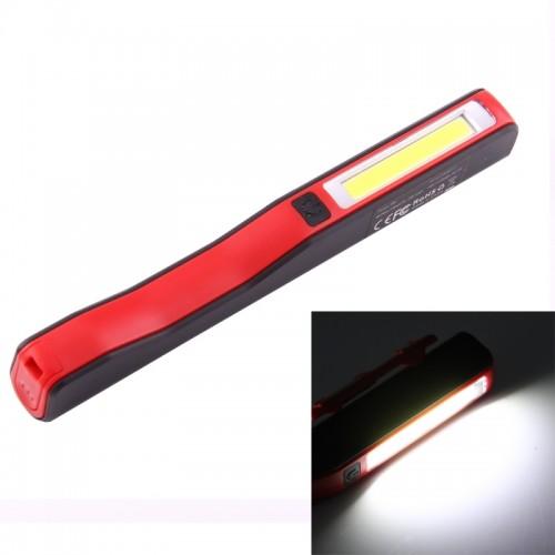 100LM COB LED 2-Modes High Brightness Pen Shape Work Light / Flashlight with 90 Degree Rotatable Magnetic Pen Clip, White Light (Red)