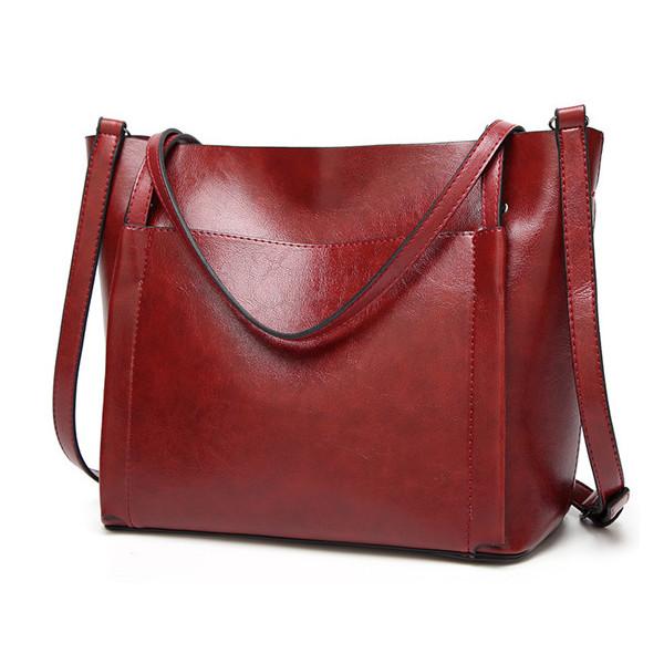 Women Oil Leather Tote Handbags Vintage Shoulder Bags Capacity Crossbody Bags