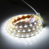 6W 60 LEDs SMD 5050 Casing IP65 Waterproof  LED Light Strip with Power Plug, 60 LED/m, 1m, AC 220V (White Light)