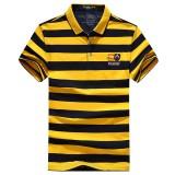 Summer Mens Casual Striped Short Sleeve T-shirt Classic Turn-down Polo Shirt