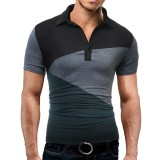 Men's Fashion Stitching Spell Color Short Sleeved POLO T-shirt Leisure Turn-down Collar Tops