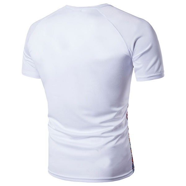 Spring Summer Casual Quick Drying Tops Tees Men's Digital Printing Short Sleeve Splicing T-shirts