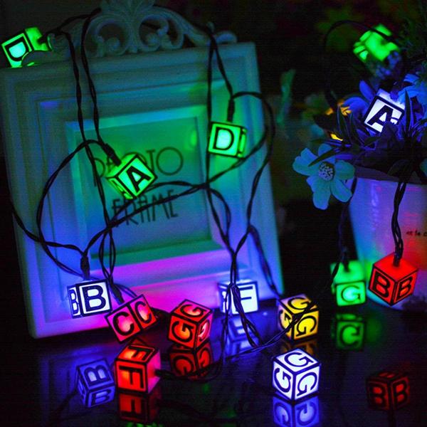Solar Powered 30 LED ICE Cube Letter String Light for Christmas Garden Patio Wedding Party Decor ...