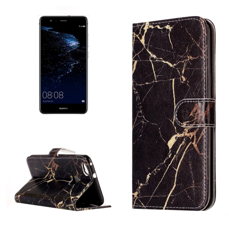 Huawei P10 Lite Black Gold Marble Pattern Horizontal Flip Leather Protective Case With Holder Card Slots Wallet