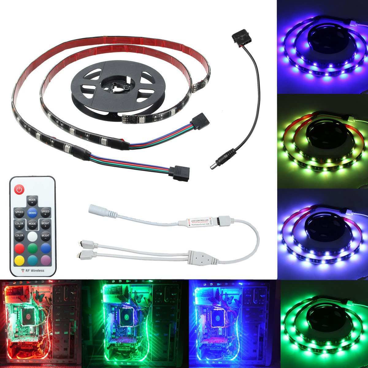 2pcs 50cm 5050 Smd 17 Keys Remote Control Led Strip Lighting For Rgb Controller Strips With Rf 20 Home Decoration
