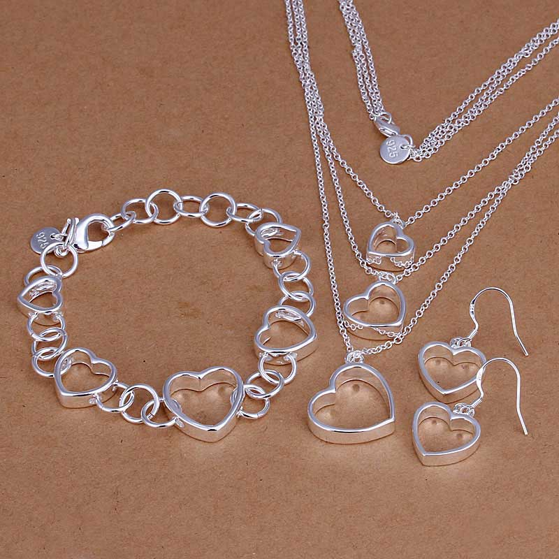 925 Sterling Silver Plated Heart Chain Bracelet Earring Necklace Jewelry Set