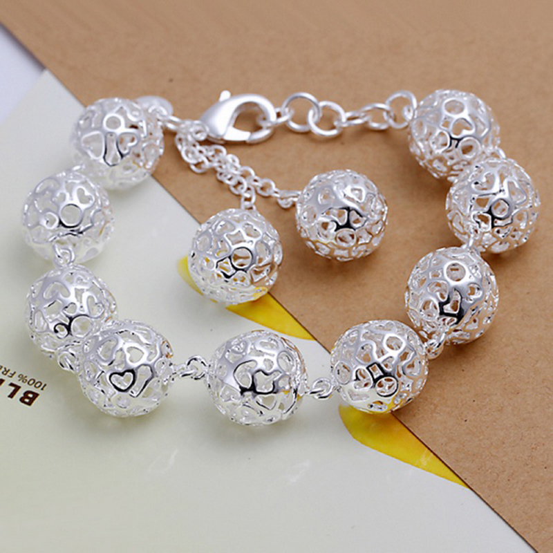 925 Sterling Silver Plated Ball Earring Bracelet Necklace Chain Jewelry Set