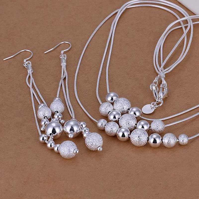 Fahsion 925 Sterling Silver Plated Beads Earring Necklace Jewelry Chain Set
