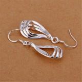 Fashion Women 925 Sterling Silver Plated Hollow Teardrop Hook Earrings Jewelry