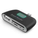 4 in 1 OTG/TF/SD Smart Card Reader Adapter Micro USB Charge Durable Port