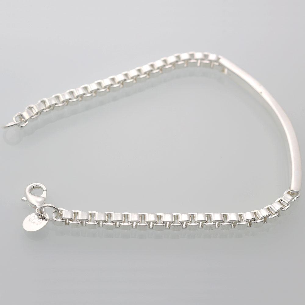Silver Chain Link Bracelet: Fashion 925 Silver Plated Box Link Chain Bracelet Bangle