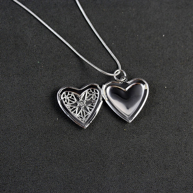 Charming Hollow Heart Locket Pendant Sterling Silver Plated Necklace Jewelry