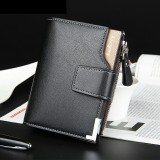 Men's Leather ID Credit Card Cash Purse Holder Clutch Billfold Wallet